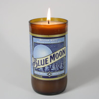 Blue Moon Beer Bottle Candle, Upcycled from Blue Moon Beer Bottle, Custom Made Candle