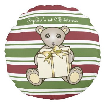 Christmas Cute Teddy Bear Border Striped Kids Round Pillow
