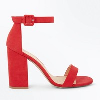 Red Ankle Strap Block Heels | New Look