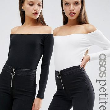 ASOS PETITE Off Shoulder Long Sleeve Body in Rib 2 Pack Save 10%
