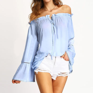 Hot Summer Style Blusas 2016 Women Blouses Long Flare Sleeve Packwork Shirts Sexy Off Shoulder Loose Blouse Tops Plus Size