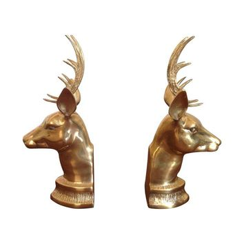 Pre-owned Brass Deer Bookends