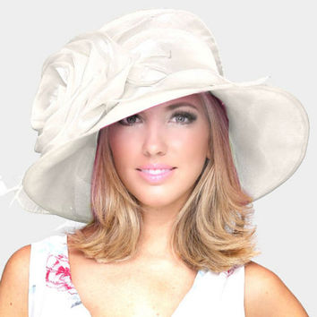 Kentucky Derby Church Wedding Tea Party Rose Feather Organza Hat White