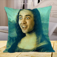"Nicolas Cage Mona Lisa on square pillow cover 16"" 18"" 20"""