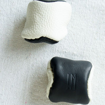 Leather Black and White Hacky Sack