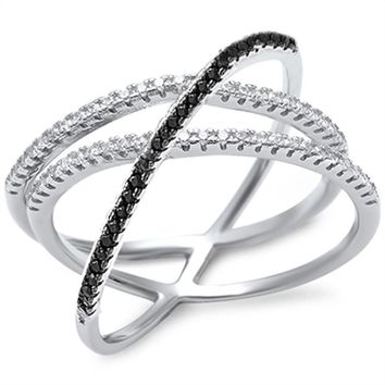 "New Black &  Cz "" Criss Cross"" Design .925 Sterling Silver Ring Size 5-11"