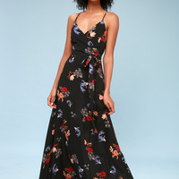 Play it Koi Black Floral Print Surplice Maxi Dress
