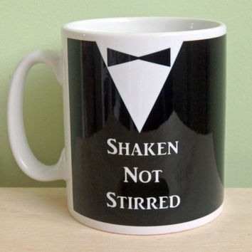 "James Bond inspired ""Shaken Not Stirred"" tuxedo and bow tie design sublimation print 11oz ceramic. Lovely gift"
