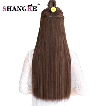 ONETOW SHANGKE Hair 24'' Long Straight Hair Extensions 5 Clips in Fake Hair Extension Heat Resistant Synthetic Fake Hairpiece Hairstyle