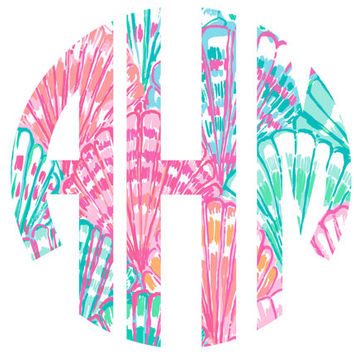 Lilly Pulitzer Monogram Decal Sticker Circle OH SHELL