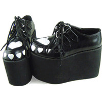 white heart platform creepers
