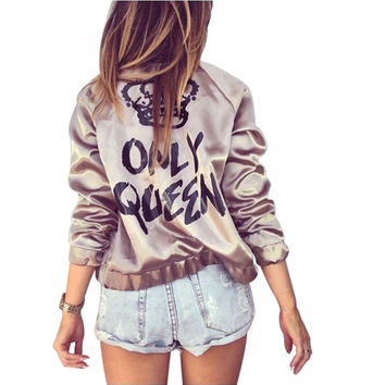 Bomber Jacket Women Basic Coats Autumn Only Queen  Letter Print Zipper Ladies Coat Outerwear Femme Chaquetas Mujer WT4515