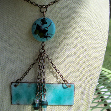 Turquoise Enamel Artisan Trapeze Necklace with Butterfly Bead Copper Chain & Beaded Tassel OOAK Handmade Enamel Necklace with Copper Chain