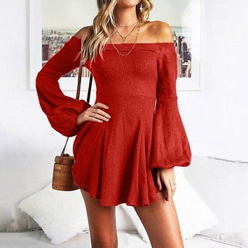 New Off the Shoulder A Line Long Sleeve Bardot Short Dress Female Puff sleeve Party Dress