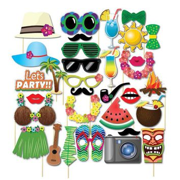 32-Piece Tiki Tropical Photo Booth Props