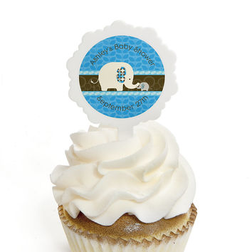 Blue Baby Elephant - Personalized Baby Shower Cupcake Picks and Sticker Kit - 12 ct