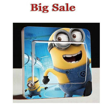 1PCS Minion Wall Stickers Switch toilet Sticker Despicable Me 2 Removable Wall Decals Kids Room Laptop Decor DIY