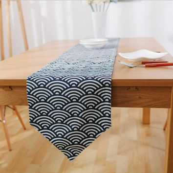 1PC Japanese Style Blue Waves Rectangle Linen Cotton Table Runners For Home Decoration Sushi Shop Dining Table Runner Cloth