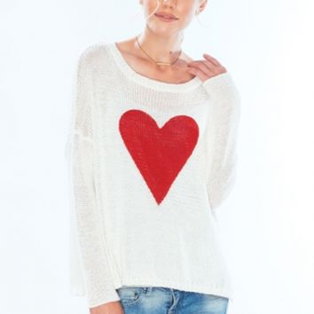 Wooden Ships Cotton Collection Heart Crew Neck - Bone