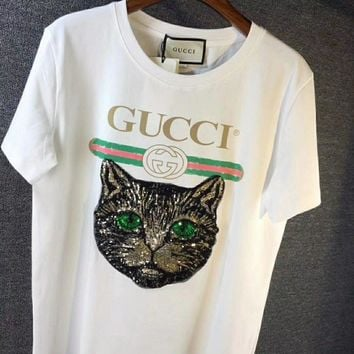 GUCCI Letter Prints Round Collar Short Sleeve T-Shirt-3