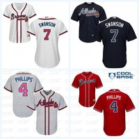Women's #7 Dansby Swanson Jersey Atlanta Braves 4 Brandon Phillips 100% Stitched Cool Base Flex Base Baseball Jerseys Mix Order