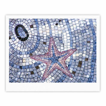 "Debbra Obertanec ""Mosaic Starfish"" Nautical Blue Fine Art Gallery Print"