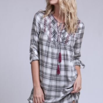 Pretty In Plaid Dress - Black/White