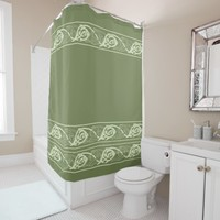 Celtic Knotwork Fish in Green Shower Curtain