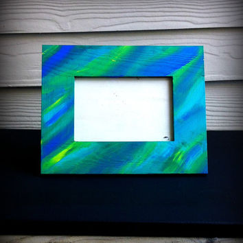 Hand Painted Simple Wood Frame 4x6 Blue, Green, Yellow, Turquoise, Black
