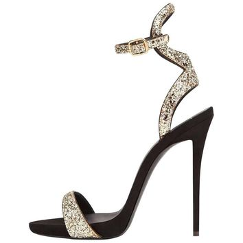 Giuseppe Zanotti New Black Gold Glitter Evening Sandals Ankle Heels