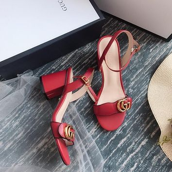 Gucci GG Women Red Leather Mid-heel Sandals