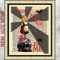 Gothic Alice in wonderland Print dictionary book page. Skull steampunk sheet.