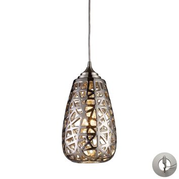 20064/1-LA Nestor 1 Light Pendant In Polished Chrome And Chrome Plated Ceramic Shade - Includes Recessed Lighting Kit - Free Shipping!