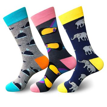 PEONFLY  Funny Cotton Men's Socks Elephant Dolphin Warm Skate Harajuku Cool Happy Socks for Wedding Christmas Gift
