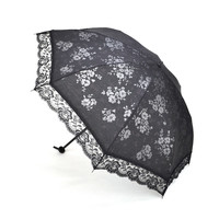 Idoo Black Rose Sun Umbrella With Lace Trim, Two-Section Folded Anti-UV Parasol