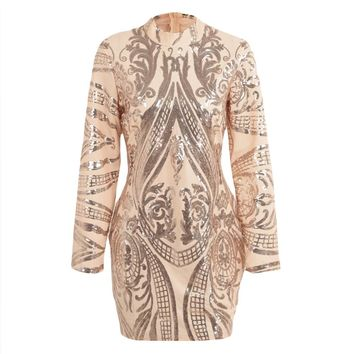 Sexy Women Sparkling Sequin Dress Long Sleeves Bodycon Nightwear Cocktail Evening Party Mini Dresses