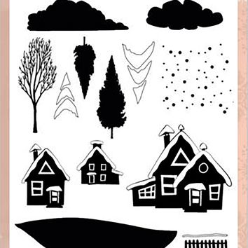 Find It Precious Marieke Merry & Bright Clear Stamps-Christmas House