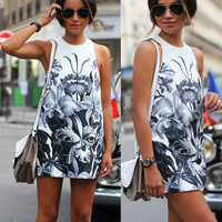 Popular Fashionable Summer Floral Floral Everyday Wear Round Necked Sleeveless Casual Boho Dress b2649