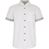 River Island Boys white bandana print trim shirt