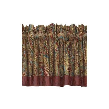 Cowgirl Kim San Angelo Paisley and Red Faux Leather Valance