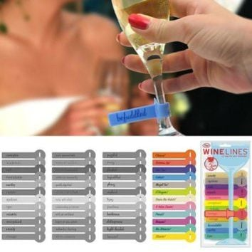 Fred & Friends WINE LINES Drink Markers - Comments, Set of 12
