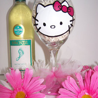 Personalized Hand Painted Wine Glass Hello Kitty Inspired Perfect Birthday or Bridesmaid Gift