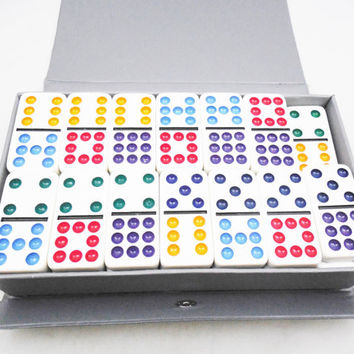 Double Nine Dominoes Set, 55 Color Dot Dominoes for Play or Crafting