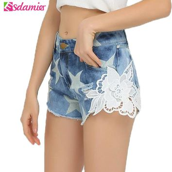 Summer Womens Denim Shorts Casual Stars Print Lace Flower Patchwork Shorts Jeans Women Plus Size Ripped Jeans Shorts For Women