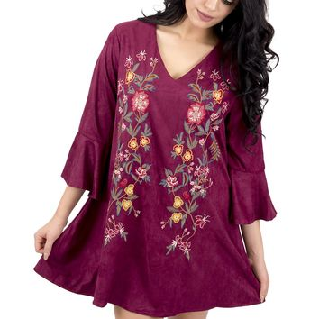 Women's Faux Suede Embroidered Bell Sleeve Dress