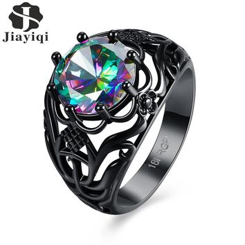 Trendy Black Gold Punk Rainbow Stone Ring Vintage Hollow Crystal Ring for Women Gift Cubic Zirconia Jewelry 2017