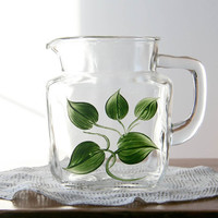Vintage Federal Glass Pitcher painted green leaves juice pitcher milk pitcher small pitcher clear glass summer lemonade