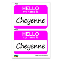 Cheyenne Hello My Name Is - Sheet of 2 Stickers