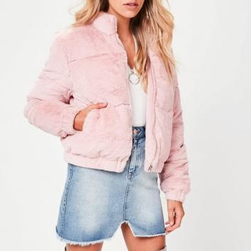 Missguided - Pink Faux Fur Padded Jacket