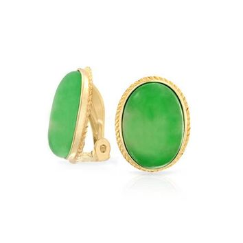 Oval Gemstone 14K Gold Plated Sterling Silver Clip On Earrings Clip